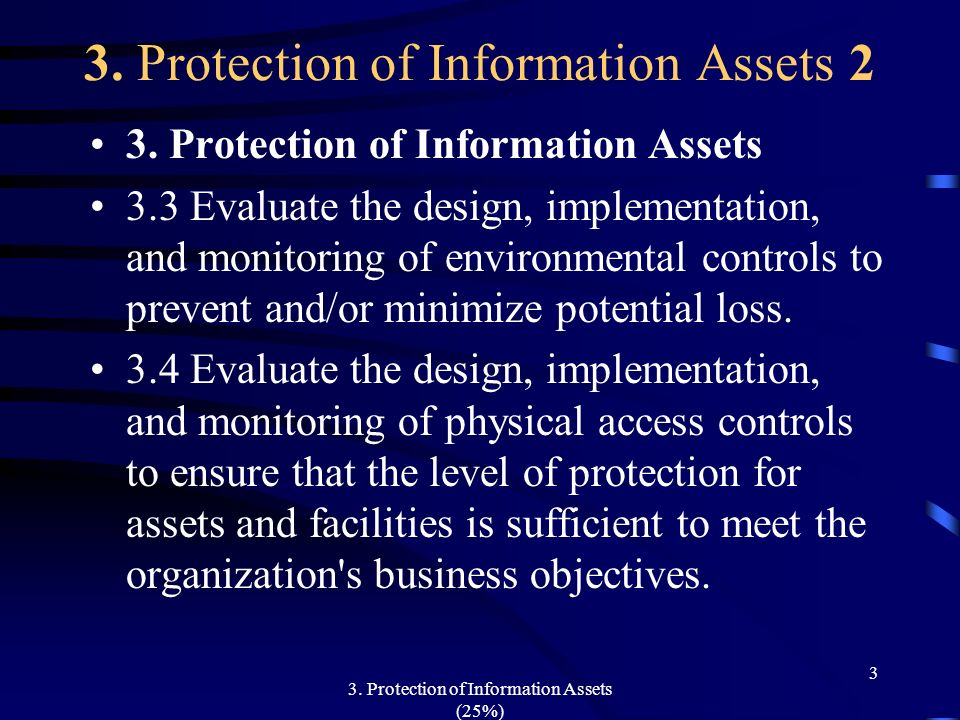 3. Protection of Information Assets (25%) 3 3. Protection of Information Assets 2 3. Protection of Information Assets 3.3 Evaluate the design, impleme