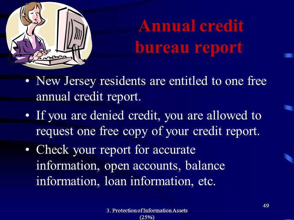 3. Protection of Information Assets (25%) 49 Annual credit bureau report New Jersey residents are entitled to one free annual credit report. If you ar