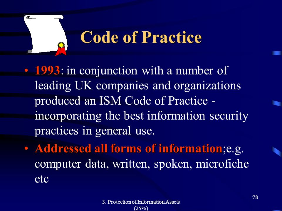 3. Protection of Information Assets (25%) 78 Code of Practice 19931993: in conjunction with a number of leading UK companies and organizations produce