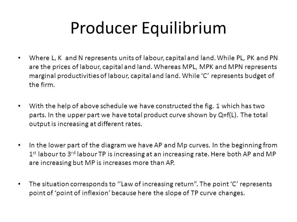 Producer Equilibrium Where L, K and N represents units of labour, capital and land. While PL, PK and PN are the prices of labour, capital and land. Wh