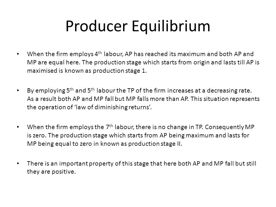 Producer Equilibrium When the firm employs 4 th labour, AP has reached its maximum and both AP and MP are equal here. The production stage which start