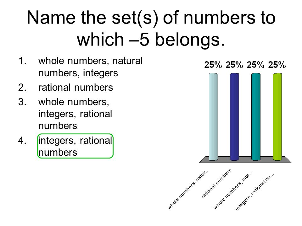 Name the set(s) of numbers to which –5 belongs. 1.whole numbers, natural numbers, integers 2.rational numbers 3.whole numbers, integers, rational numb