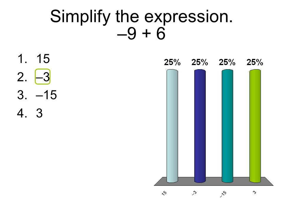 –9 + 6 1.15 2.–3 3.–15 4.3 Simplify the expression.