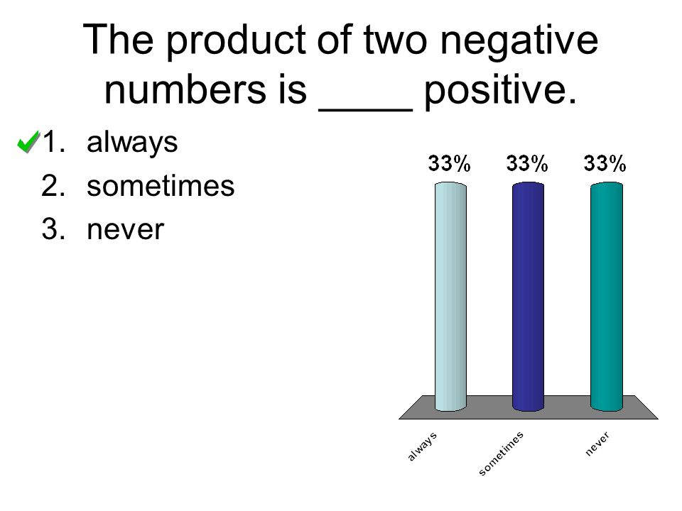 The product of two negative numbers is ____ positive. 1.always 2.sometimes 3.never