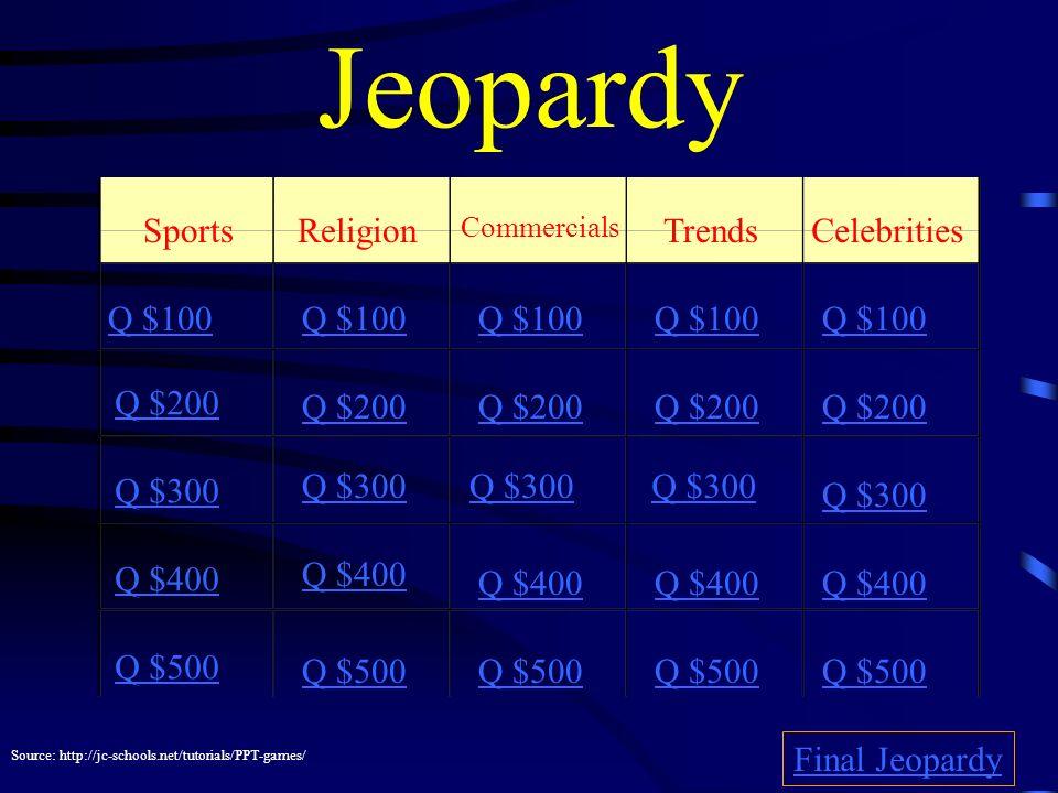 Jeopardy SportsReligion Commercials Trends Celebrities Q $100 Q $200 Q $300 Q $400 Q $500 Q $100 Q $200 Q $300 Q $400 Q $500 Final Jeopardy Source: http://jc-schools.net/tutorials/PPT-games/