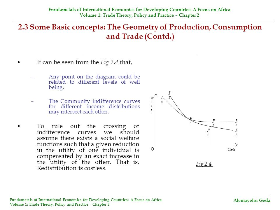 2.3 Some Basic concepts: The Geometry of Production, Consumption and Trade (Contd.) It can be seen from the Fig 2.4 that, –Any point on the diagram co