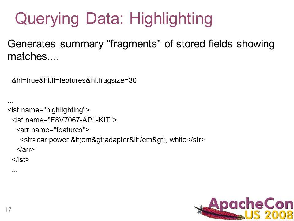 17 Querying Data: Highlighting Generates summary