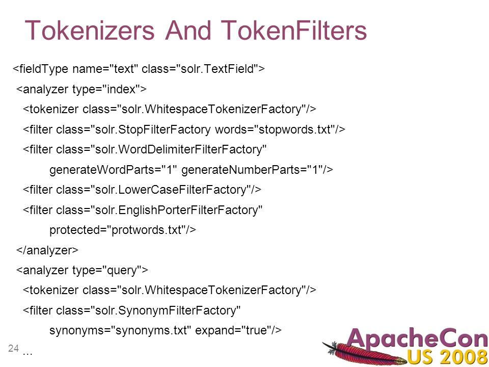 24 Tokenizers And TokenFilters <filter class=