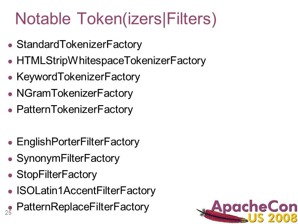 25 Notable Token(izers|Filters) StandardTokenizerFactory HTMLStripWhitespaceTokenizerFactory KeywordTokenizerFactory NGramTokenizerFactory PatternToke