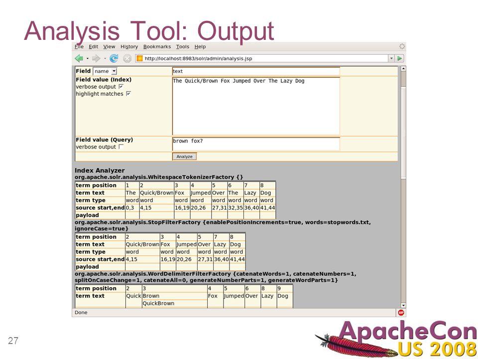 27 Analysis Tool: Output