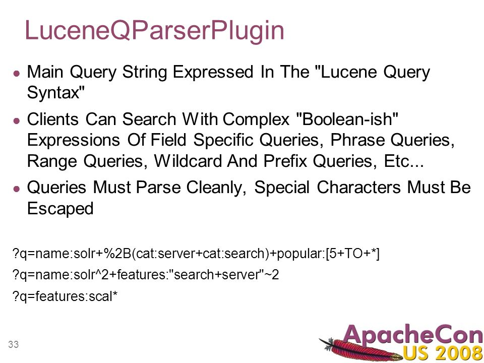 33 LuceneQParserPlugin Main Query String Expressed In The