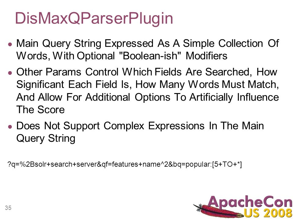 35 DisMaxQParserPlugin Main Query String Expressed As A Simple Collection Of Words, With Optional