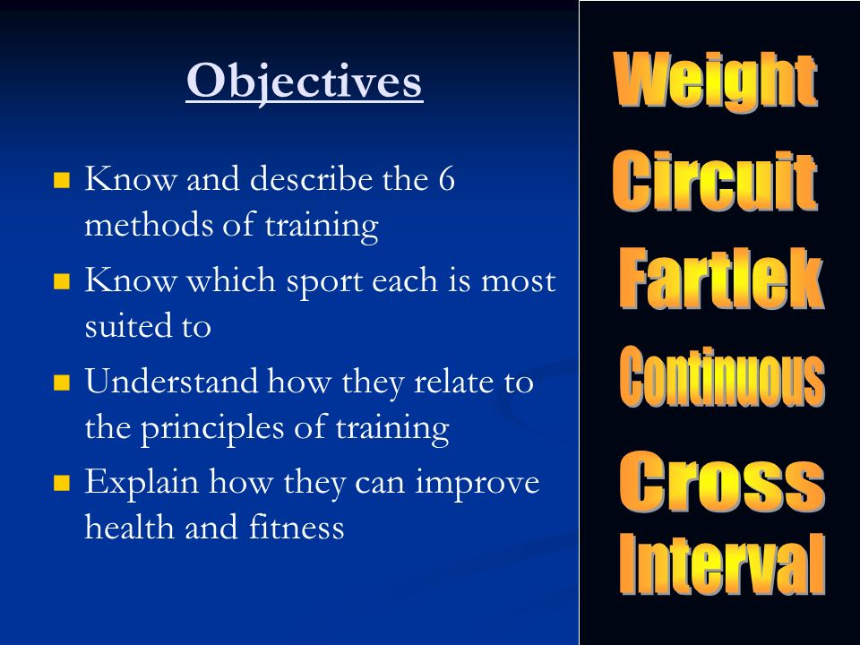 Objectives Know and describe the 6 methods of training Know which sport each is most suited to Understand how they relate to the principles of trainin