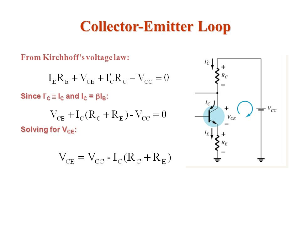 Collector-Emitter Loop From Kirchhoffs voltage law: Since I C I C and I C = I B : Solving for V CE :