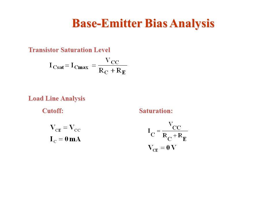 Base-Emitter Bias Analysis Transistor Saturation Level Load Line Analysis Cutoff:Saturation: