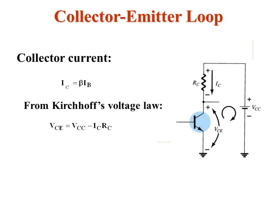 Collector-Emitter Loop Collector current: From Kirchhoffs voltage law: