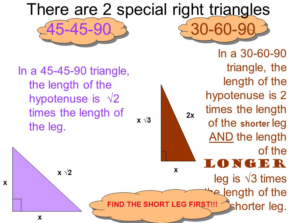 There are 2 special right triangles 45-45-90 30-60-90 In a 45-45-90 triangle, the length of the hypotenuse is 2 times the length of the leg. x 2 x x I