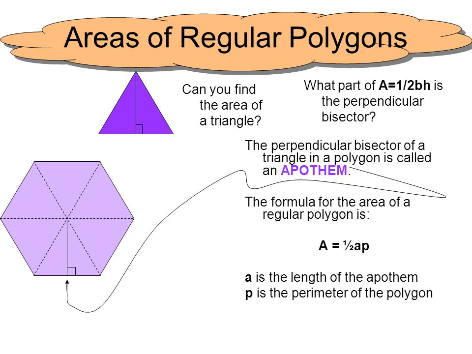 Areas of Regular Polygons The perpendicular bisector of a triangle in a polygon is called an APOTHEM. The formula for the area of a regular polygon is