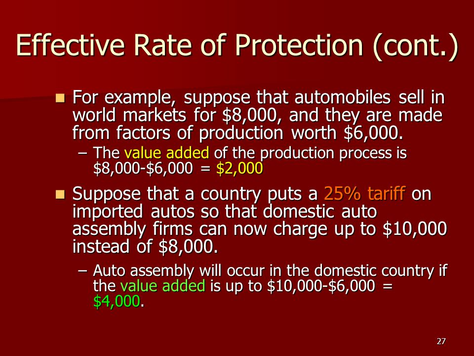27 Effective Rate of Protection (cont.) For example, suppose that automobiles sell in world markets for $8,000, and they are made from factors of prod