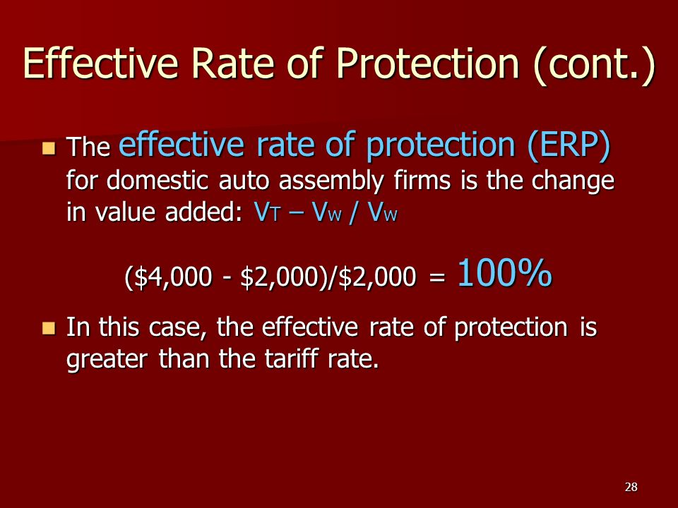 28 Effective Rate of Protection (cont.) The effective rate of protection (ERP) for domestic auto assembly firms is the change in value added: V T – V