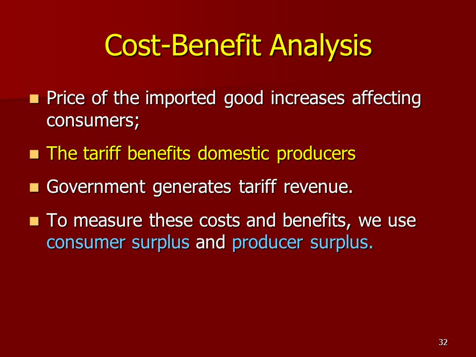 32 Cost-Benefit Analysis Price of the imported good increases affecting consumers; Price of the imported good increases affecting consumers; The tarif