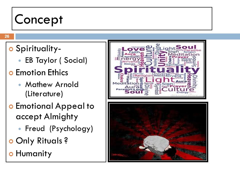 Concept Spirituality- EB Taylor ( Social) Emotion Ethics Mathew Arnold (Literature) Emotional Appeal to accept Almighty Freud (Psychology) Only Ritual
