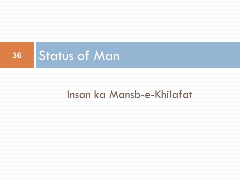 Insan ka Mansb-e-Khilafat Status of Man 36