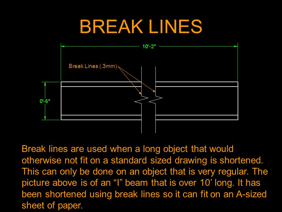 BREAK LINES Break lines are used when a long object that would otherwise not fit on a standard sized drawing is shortened. This can only be done on an