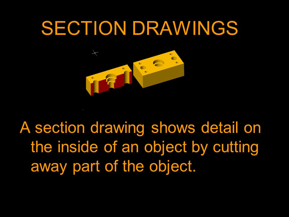 A section drawing shows detail on the inside of an object by cutting away part of the object.