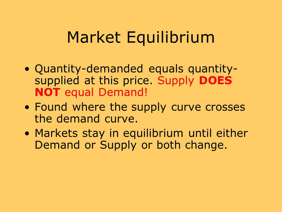 Market Equilibrium Quantity-demanded equals quantity- supplied at this price. Supply DOES NOT equal Demand! Found where the supply curve crosses the d