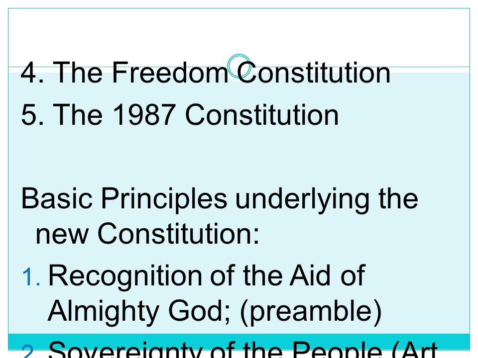 CONSTITUTION OF THE REPUBLIC OF THE PHILIPPINES 1. The Malolos Constitution 2. The 1935 Constitution 3. The 1973 Constitution