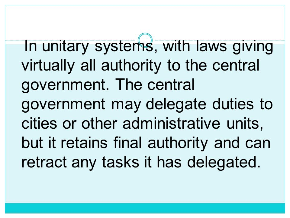 Federal political systems divide power and resources between central and regional governments. Central governments decide issues that concern the whol