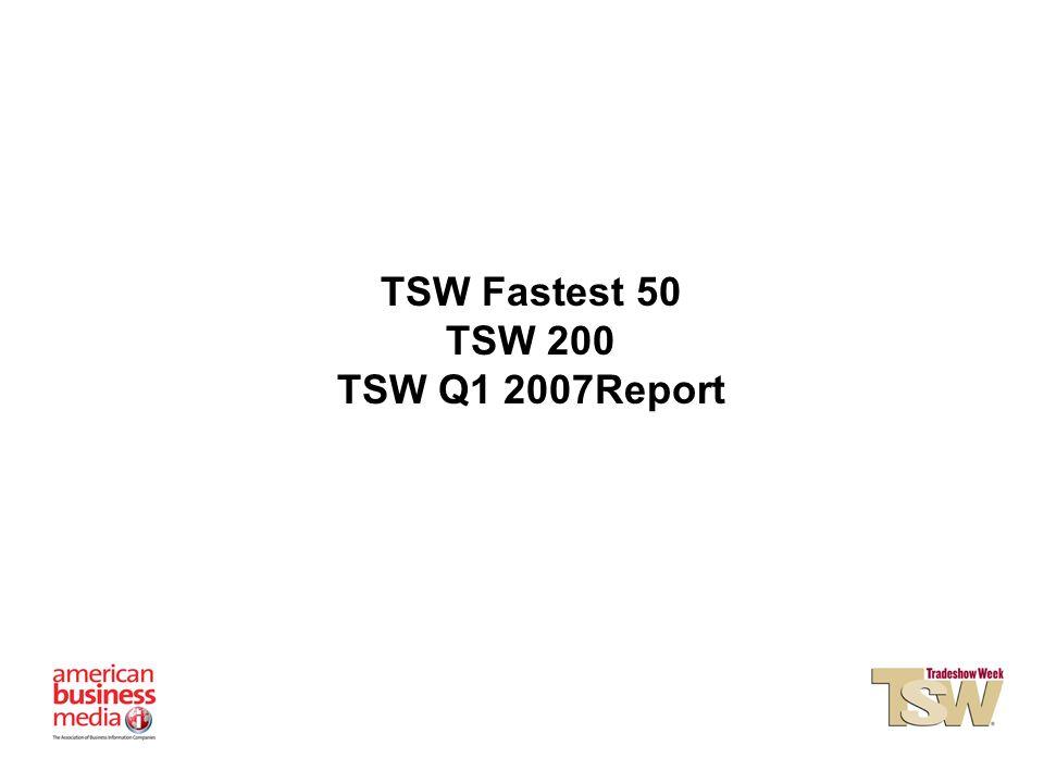 TSW Fastest 50 TSW 200 TSW Q1 2007Report