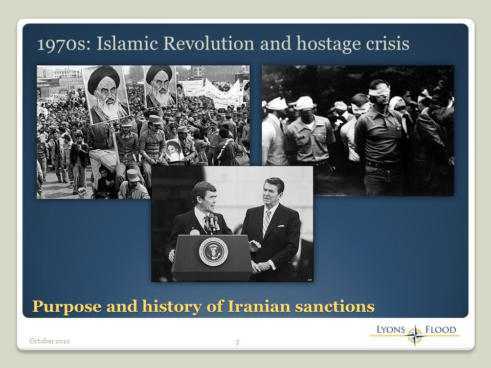 Purpose and history of Iranian sanctions (cont.) 1980s: Iran-Iraq War and reduction of oil production 4October 2010 2000s: Nuclear development