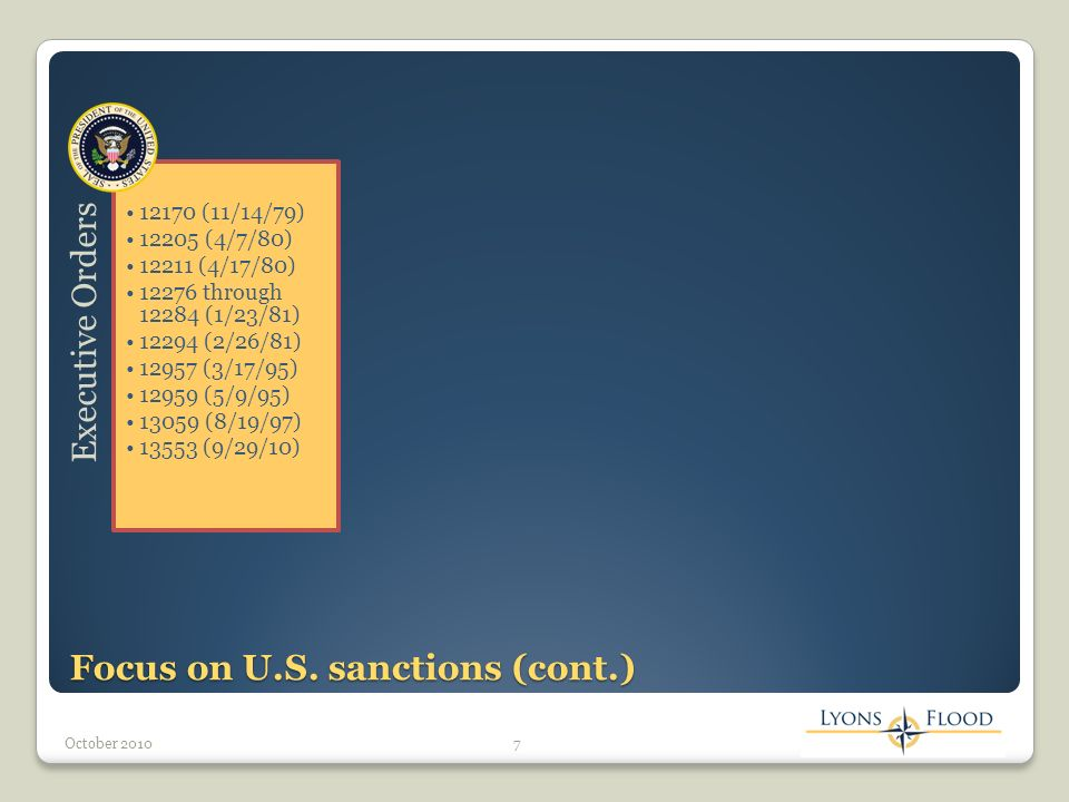 Potential penalties for violation Violation of the Iran Sanctions Act of 1996 (as amended by CISADA) requires imposition of at least three of the below: Denial of assistance or credit by the Export-Import Bank of the United States Revocation of export licenses Prohibitions on loans or credits from U.S.