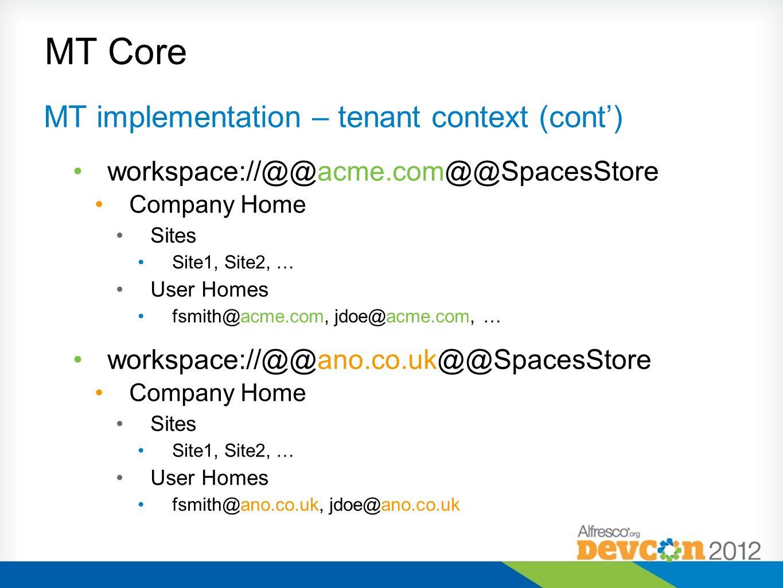 MT Core MT implementation – tenant context (cont) workspace://@@acme.com@@SpacesStore Company Home Sites Site1, Site2, … User Homes fsmith@acme.com, j
