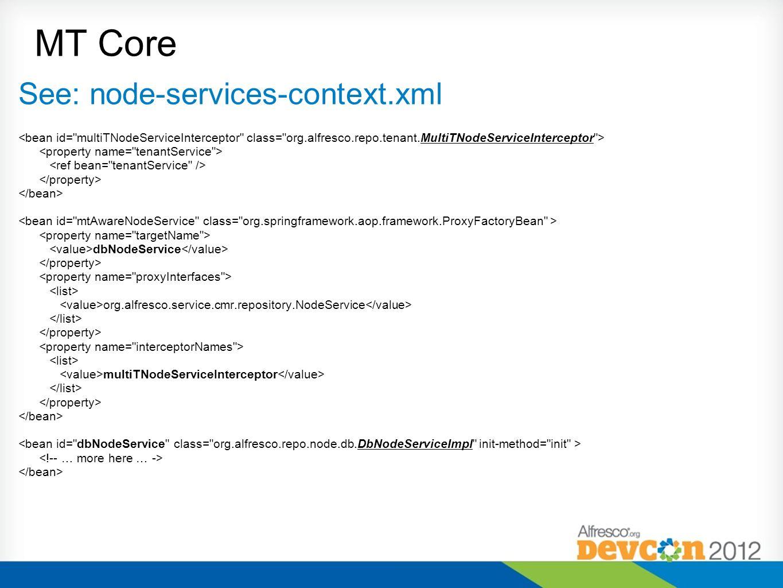 MT Core See: node-services-context.xml dbNodeService org.alfresco.service.cmr.repository.NodeService multiTNodeServiceInterceptor