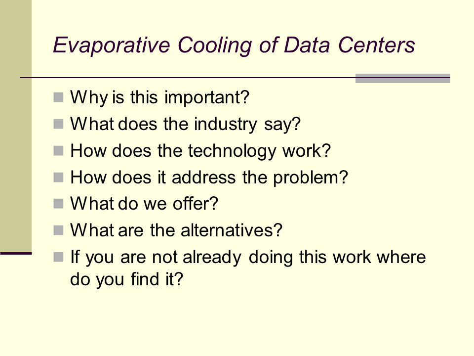 Evaporative Cooling of Data Centers