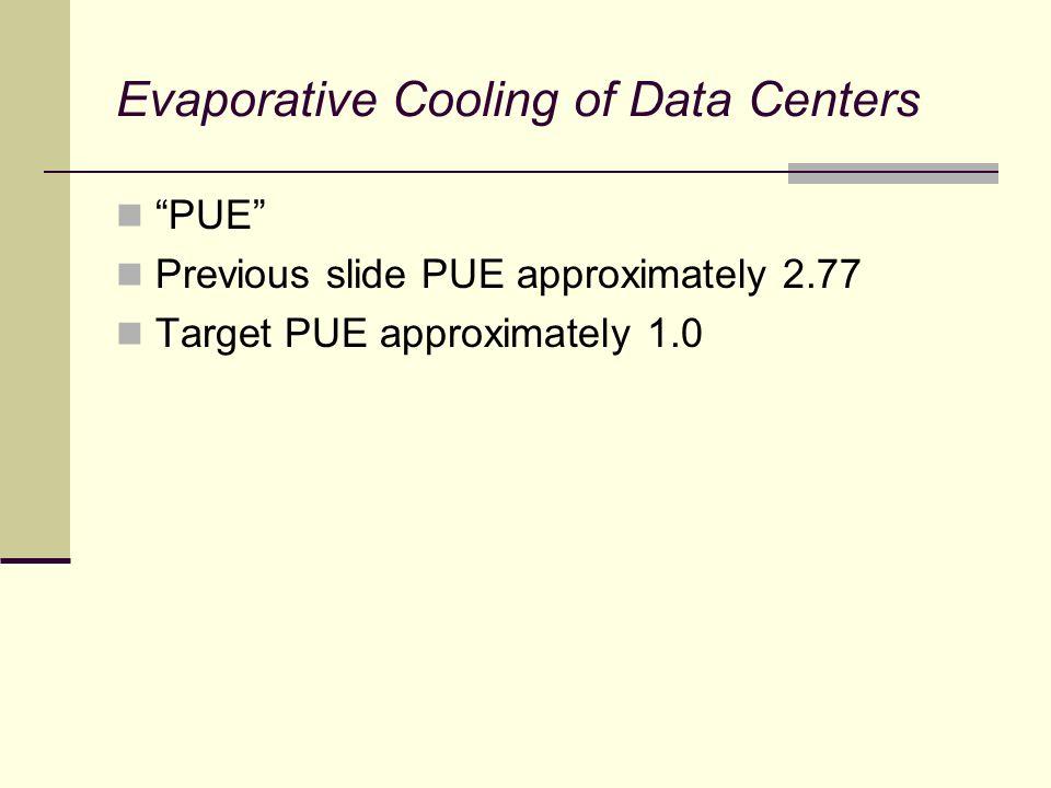 Evaporative Cooling of Data Centers Cooling Effect Sensible cooling = 1.08 * cfm * delta-t 1.08 * 10,000 * 22.5 = 243,000 btuh or 20.25 tons