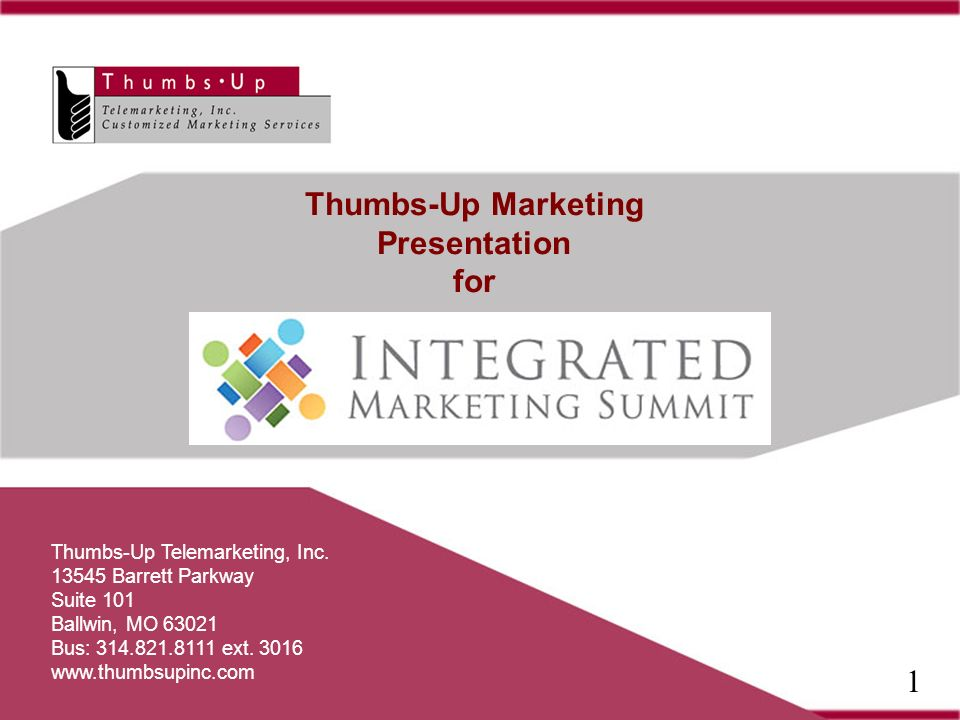 Thumbs-Up Marketing Presentation for Thumbs-Up Telemarketing, Inc.