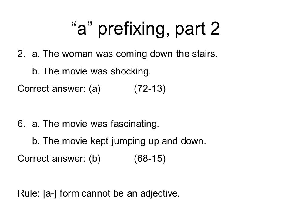 a prefixing, part 2 2.a.The woman was coming down the stairs.