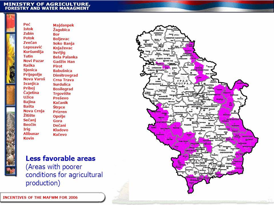 Less favorable areas (Areas with poorer conditions for agricultural production) Majdanpek Žagubica Bor Boljevac Soko Banja Knjaževac Svrljig Bela Pala