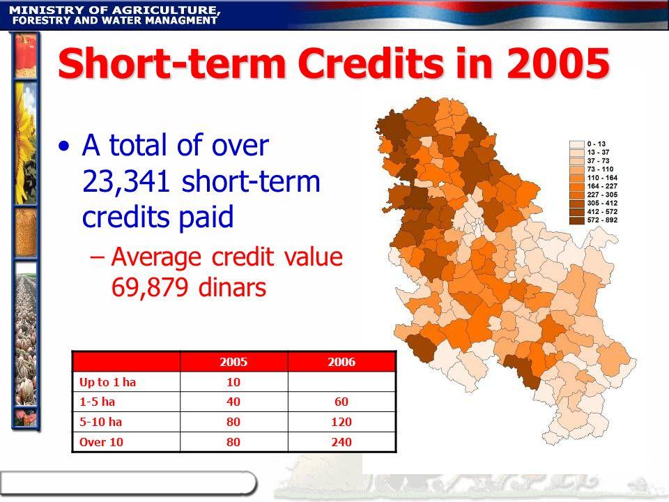 A total of over 23,341 short-term credits paid –Average credit value 69,879 dinars Short-term Credits in 2005 20052006 Up to 1 ha10 1-5 ha4060 5-10 ha