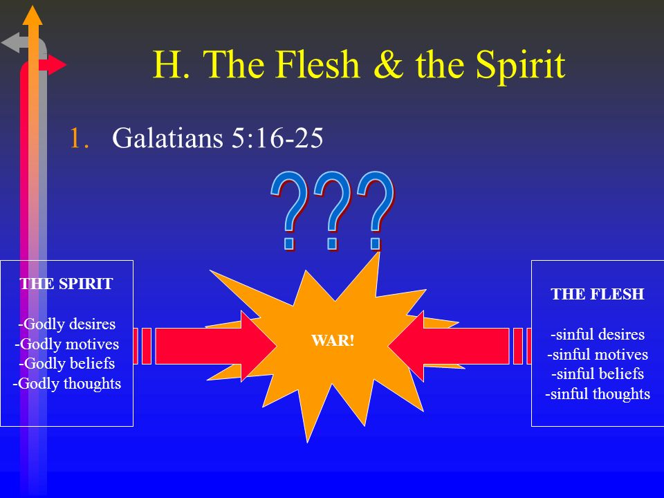 H. The Flesh & the Spirit 1.Galatians 5:16-25 WAR.