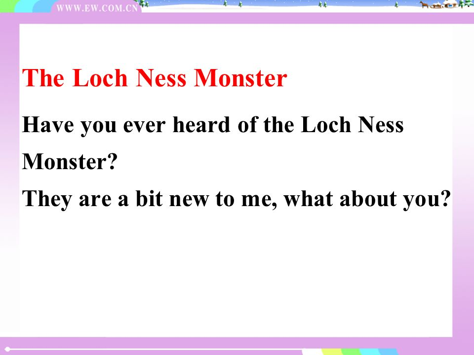 Loch Ness is a big lake in Scotland.