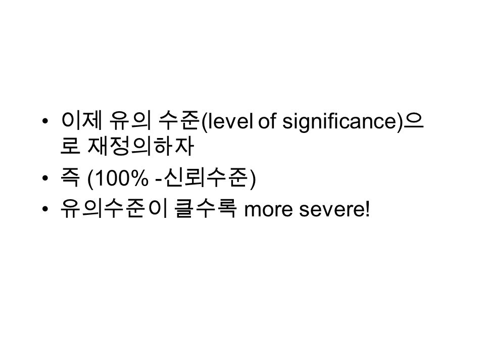 (level of significance) (100% - ) more severe!
