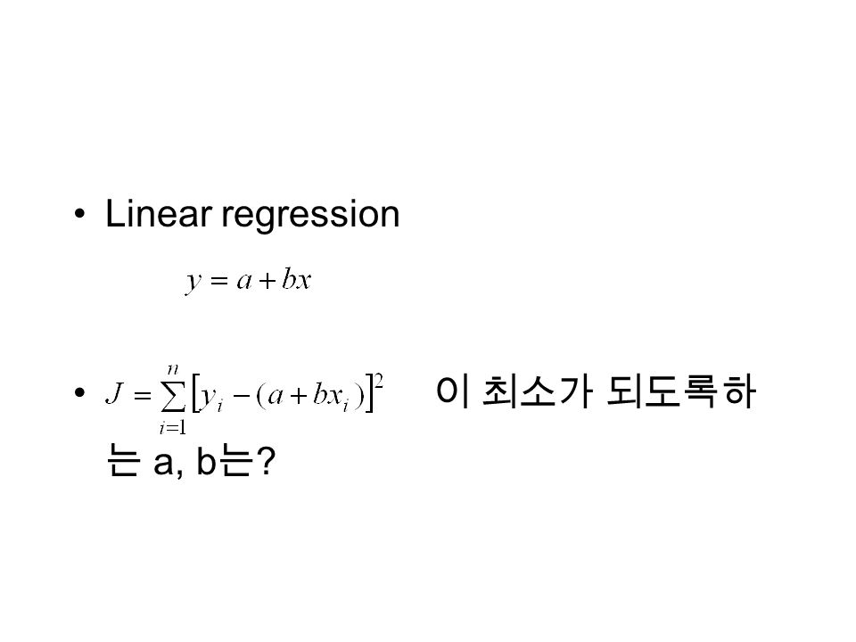 Linear regression a, b