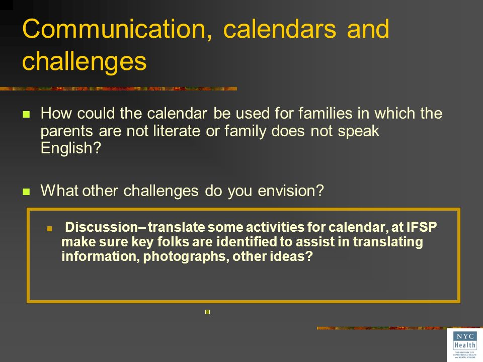 …the family is not literate? …or only speaks a language that the interventionist is not able to speak? Great idea! Love the FAP Calendar! Great tool f