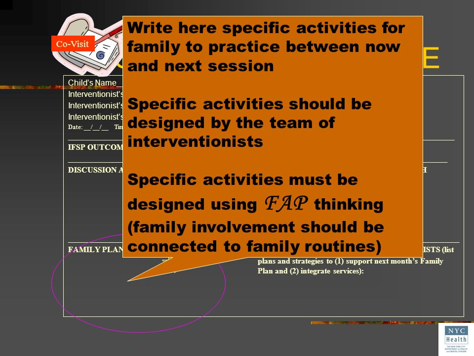 Co-Visit SESSION NOTE Childs Name______________________________________ DOB:_________ EI#_____________ Interventionists Name:_________________________