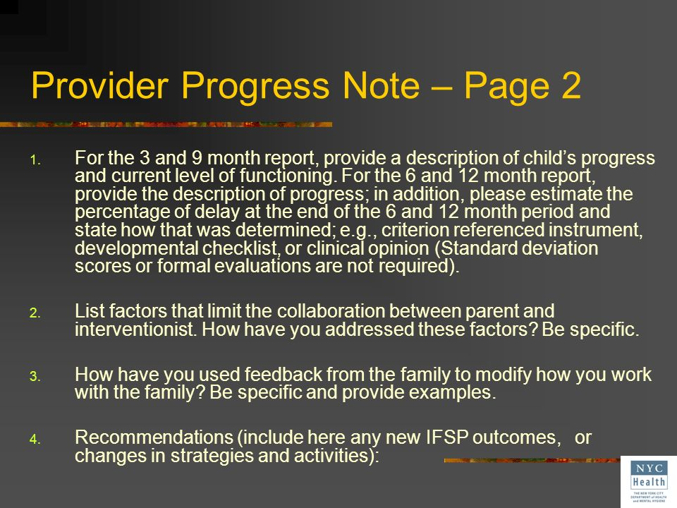 Provider Progress note- Page 1 IFSP Outcome (s)___ Rating of Progress of IFSP Outcomes Communicates effectively No Little Moderate Great deal Outcome